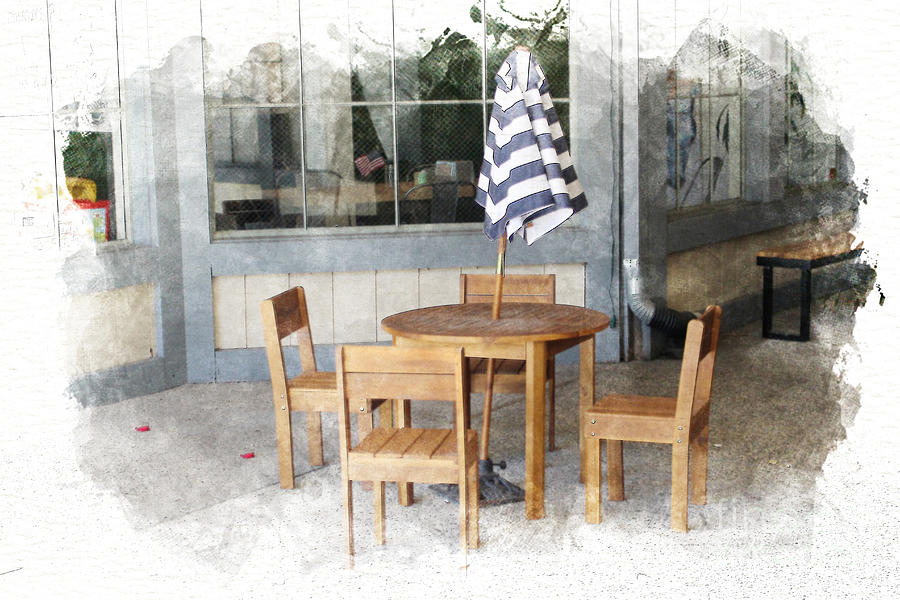 Coffee Photograph - Child Seating Area at Coffeehouse in Solvang Digital Watercolor by Colleen Cornelius