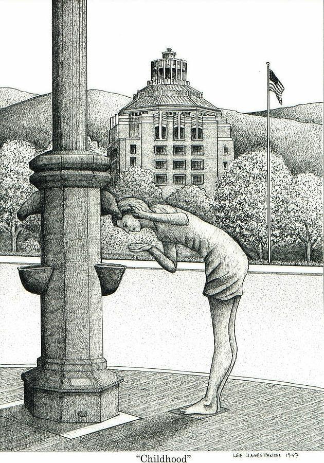 Statue Drawing - Childhood by Lee Pantas