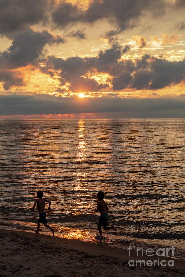 Children On Lake Michigan Beach Photograph