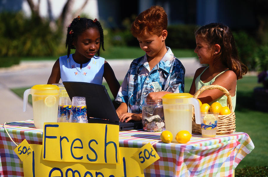 Children Selling Lemonade at Lemonade Stand Photograph by SW Productions