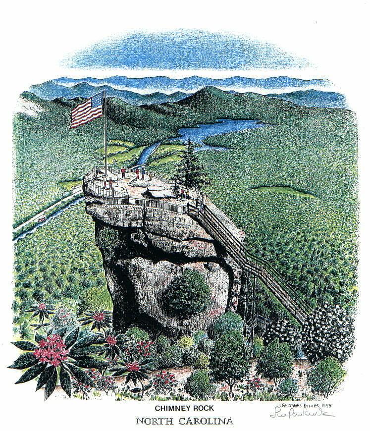 Chimney Rock Drawing - Chimney Rock by Lee Pantas
