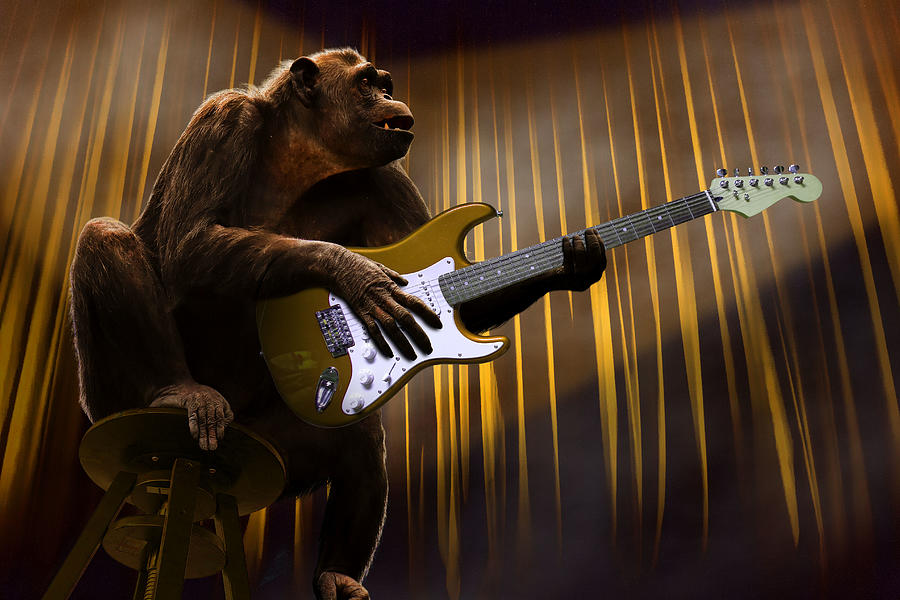 Chimpanzee Monkey Performing With A Guitar Surreal Digital Art
