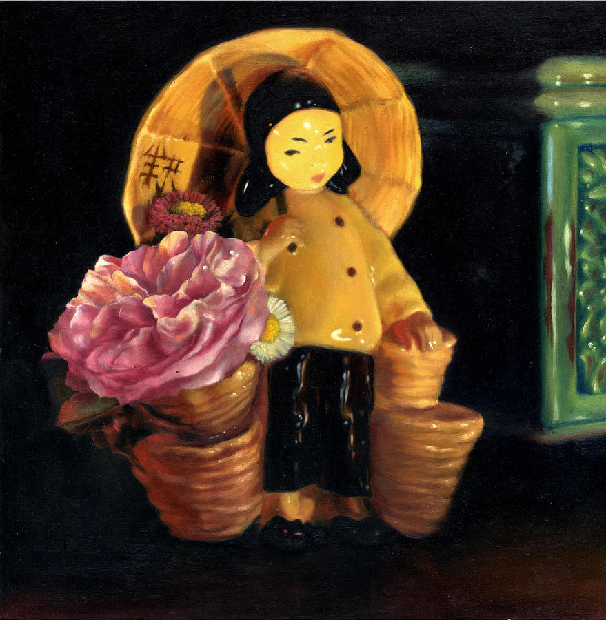 Still Life Painting - China Doll by Melanie Stimmell Van Latum