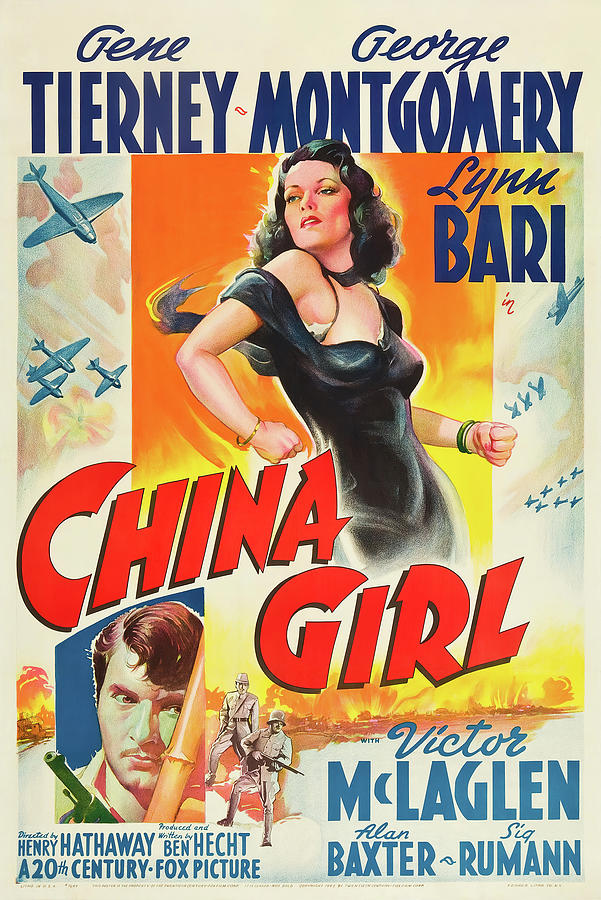 china Girl, With Gene Tierney, 1942 Mixed Media