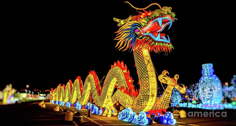 chinese dragon lantern festival panoramic night by Luca Lorenzelli