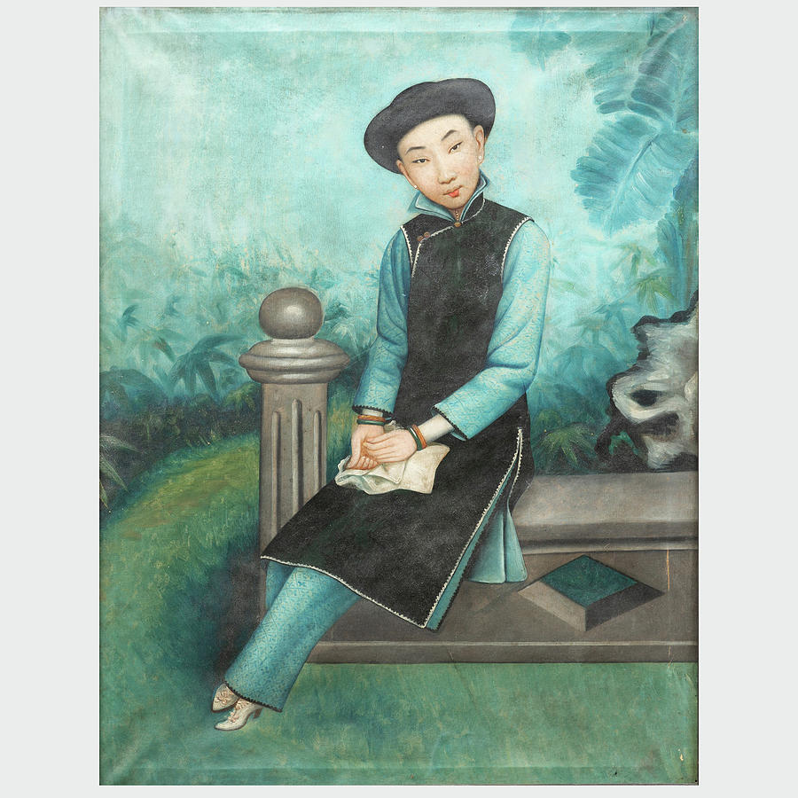 Chinese Export School Seated Figure 3 Painting