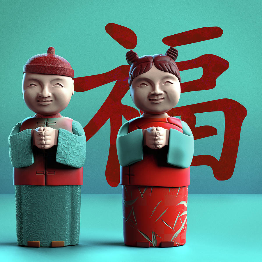 China Digital Art - Chinese Good Luck Statues by Heike Remy