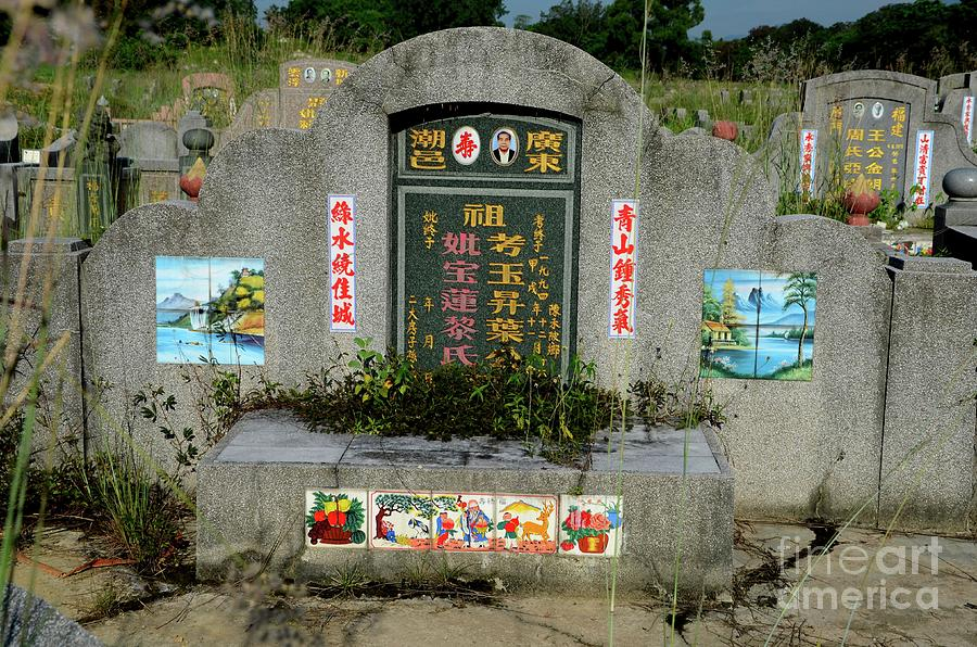 Chinese grave tombstone with photograph and painted artistic tiles Ipoh Malaysia by Imran Ahmed
