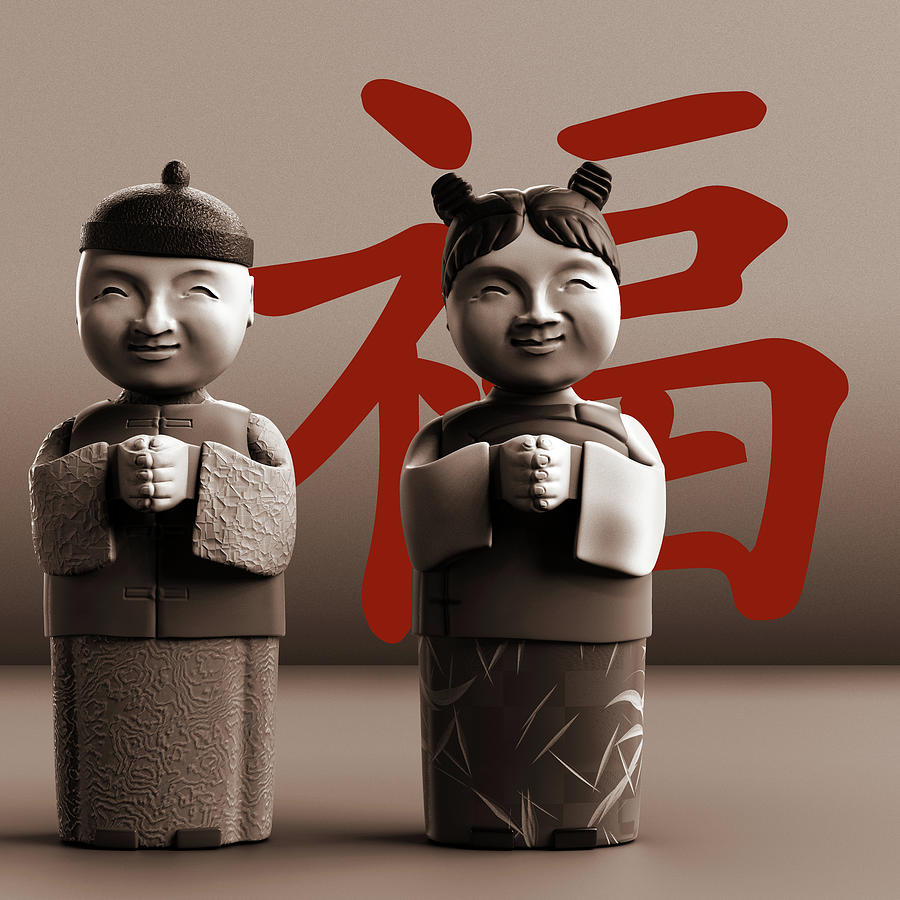 Chinese Digital Art - Chinese Statues_Sepia by Heike Remy