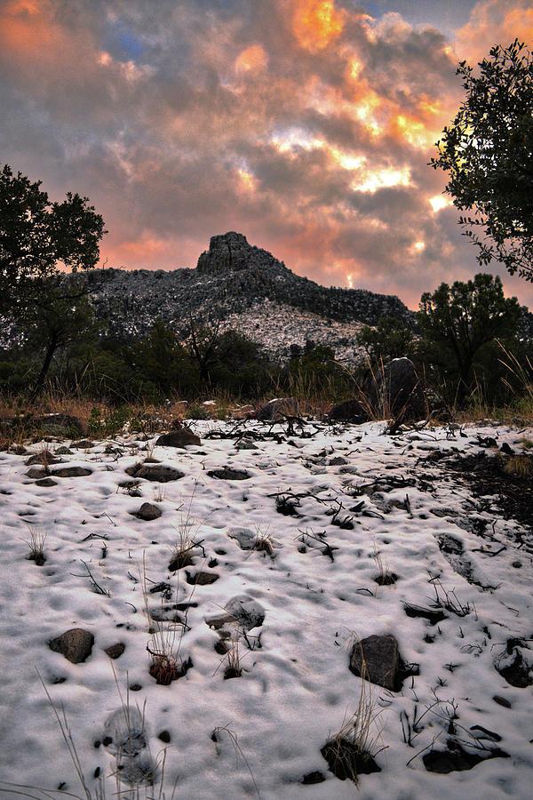 Chiricahua Mountains Sunset Snow by Chance Kafka