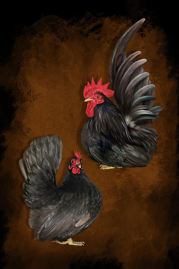 Choc Digital Art - Choc Japanese Bantams by Sigrid Van Dort