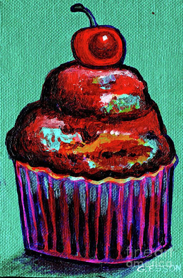 Chocolate Cupcake With Maraschino Cherry by Genevieve Esson