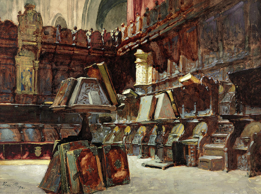 Henri Regnault Painting - Choir Stalls In A Spanish Cathedral by Henri Regnault