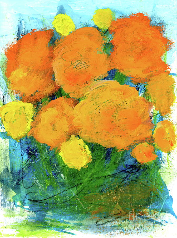 Scribbles Painting - Choosing Joy 2 Abstract Floral Painting by Itaya Lightbourne