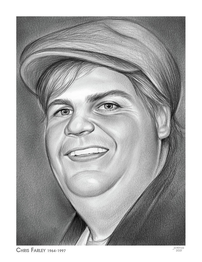Chris Farley Drawing - Chris Farley - pencil by Greg Joens