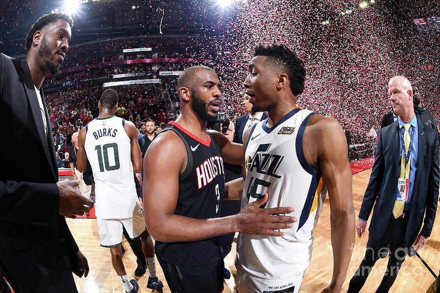 Chris Paul and Donovan Mitchell Photograph by Andrew D. Bernstein