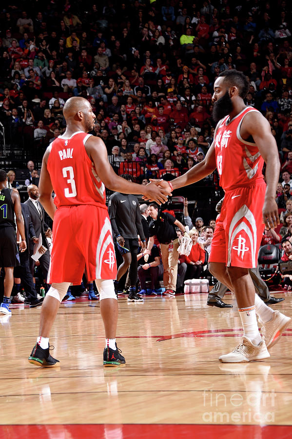 Chris Paul and James Harden Photograph by Bill Baptist