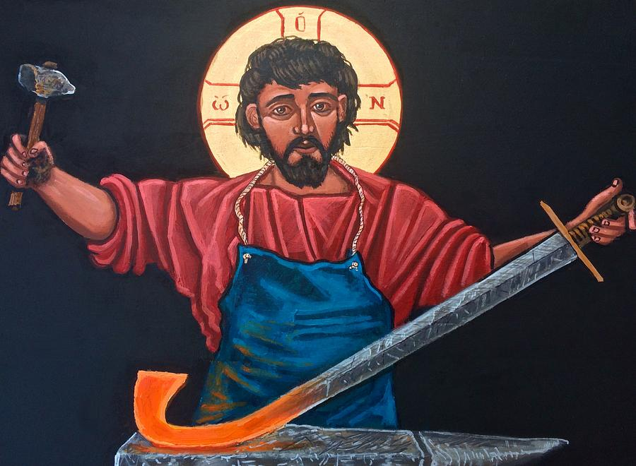 Iconography Painting - Christ Swords into Plowshares by Kelly Latimore