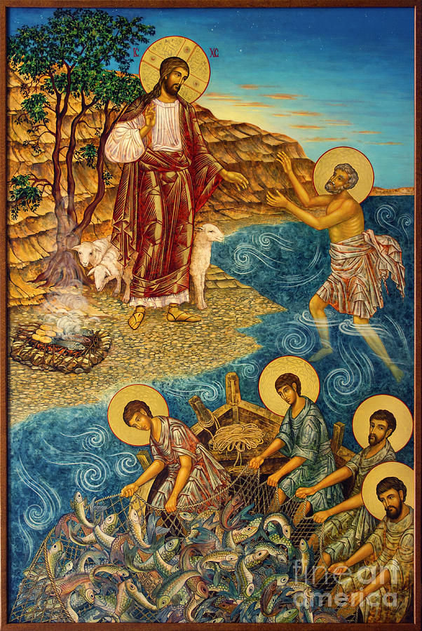 Christ Painting - Christ with Disciples at Shore  by Ann Chapin