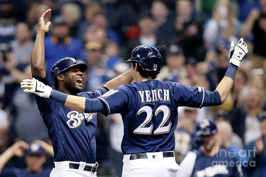 Christian Yelich And Lorenzo Cain Photograph by Dylan Buell