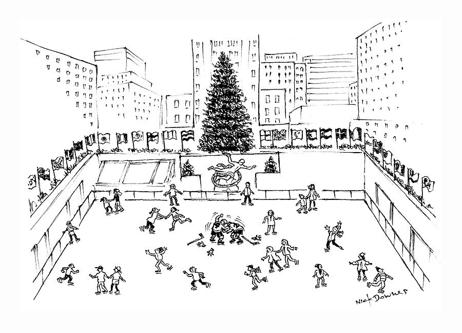 Christmas At The Ice Rink Drawing by Nick Downes