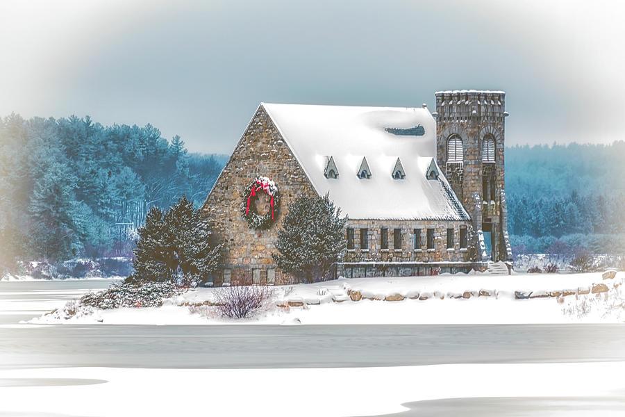 Church Photograph - Christmas at the Old Stone Church by Bob Bernier