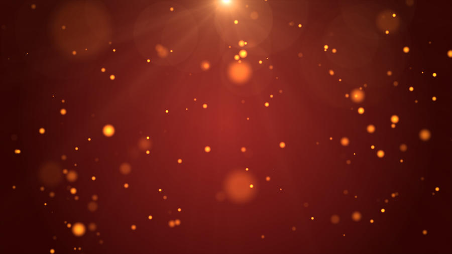 Christmas Background, De-focused Gold Colored Particles on Red Background with Lens flare Photograph by MR.Cole_Photographer