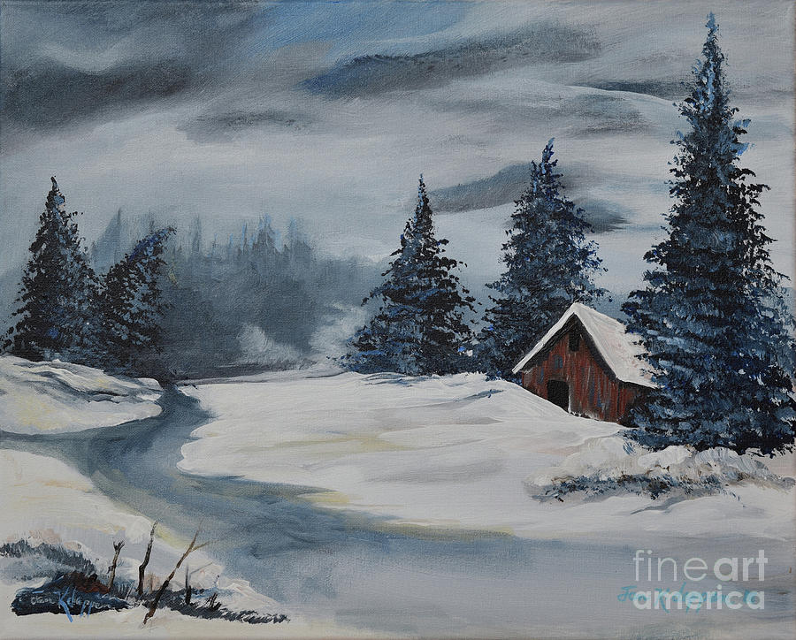 Christmas Cards - Winter Solitude - Snowy Cabin by Jan Dappen
