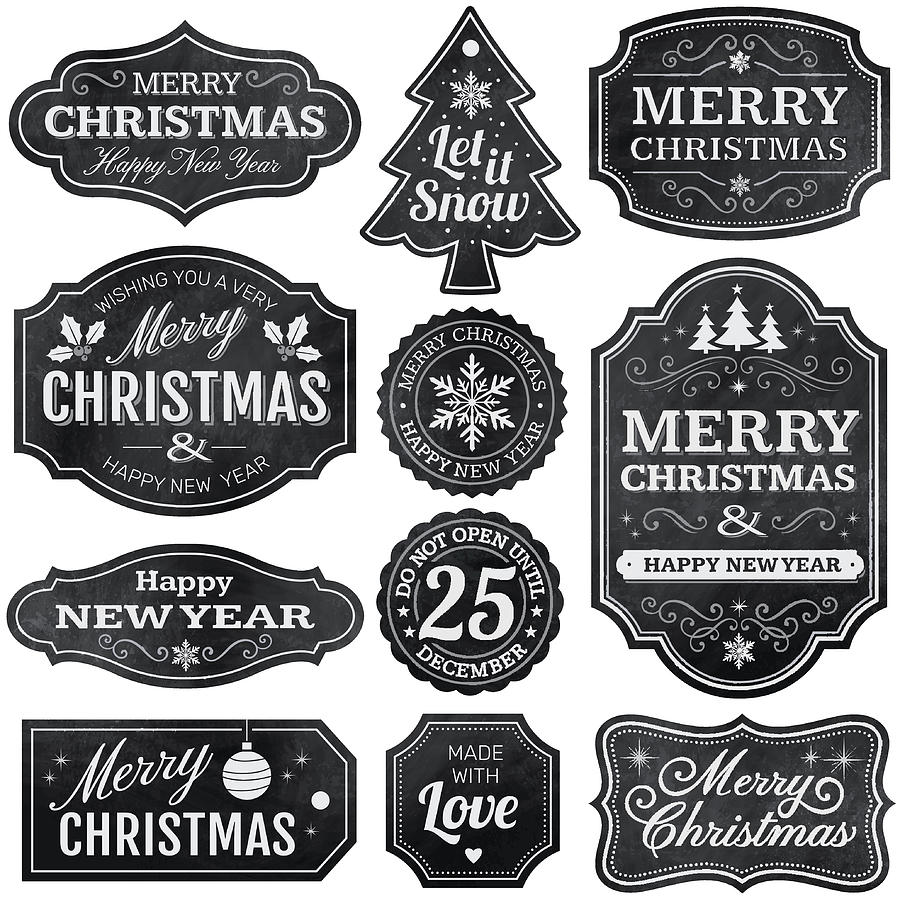 Christmas Chalkboard Labels Drawing by Paci77