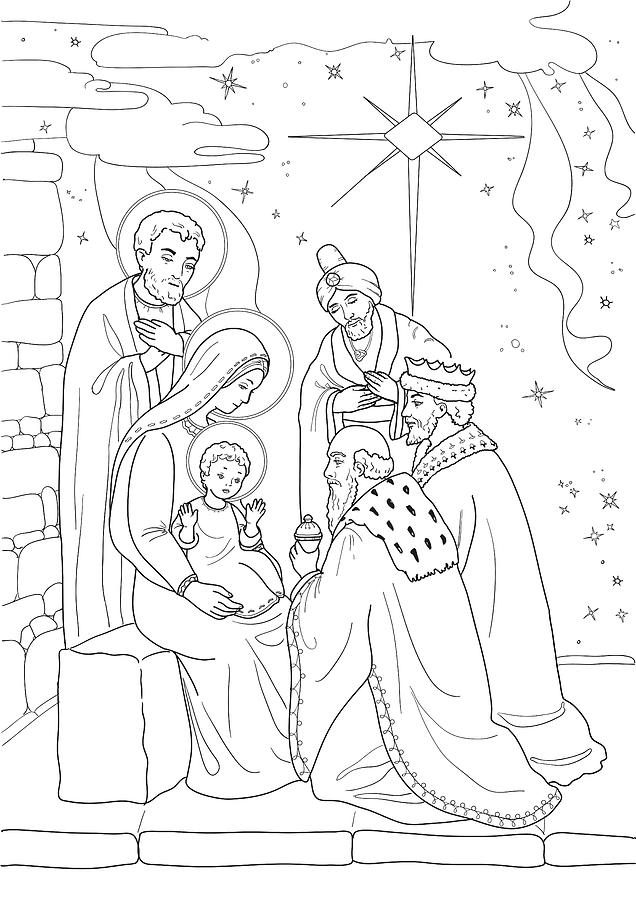 Christmas. Coloring Page With Baby Jesus, Mary Joseph, Three Wis Drawing By  Olha Zolotnyk