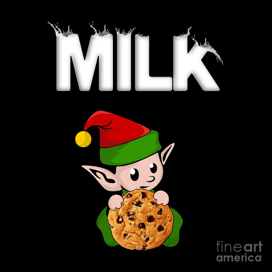 Christmas Elf Milk And Cookies Santa Claus Treats Digital Art By Best Trendy Choices