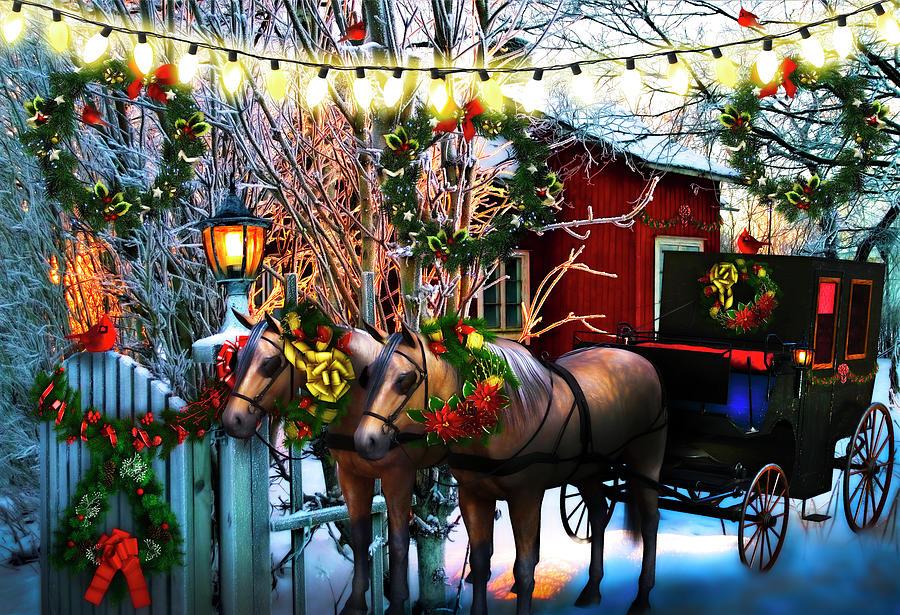 Christmas Eve Spirit Painting  by Debra and Dave Vanderlaan