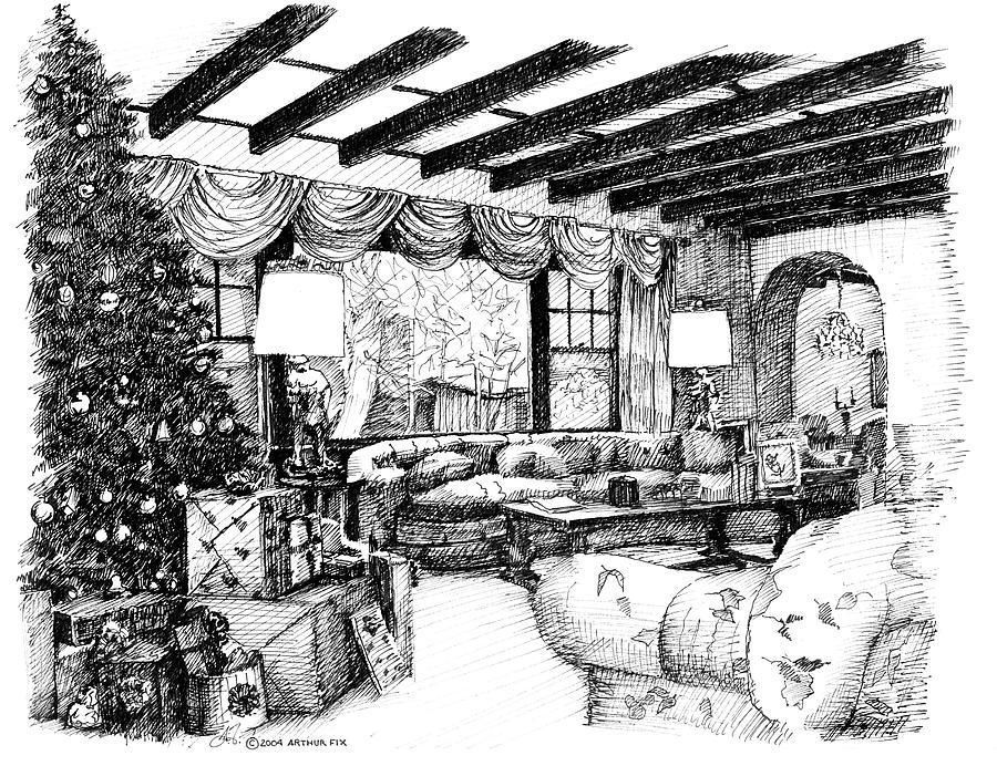 Christmas Drawing - Christmas Home by Arthur Fix