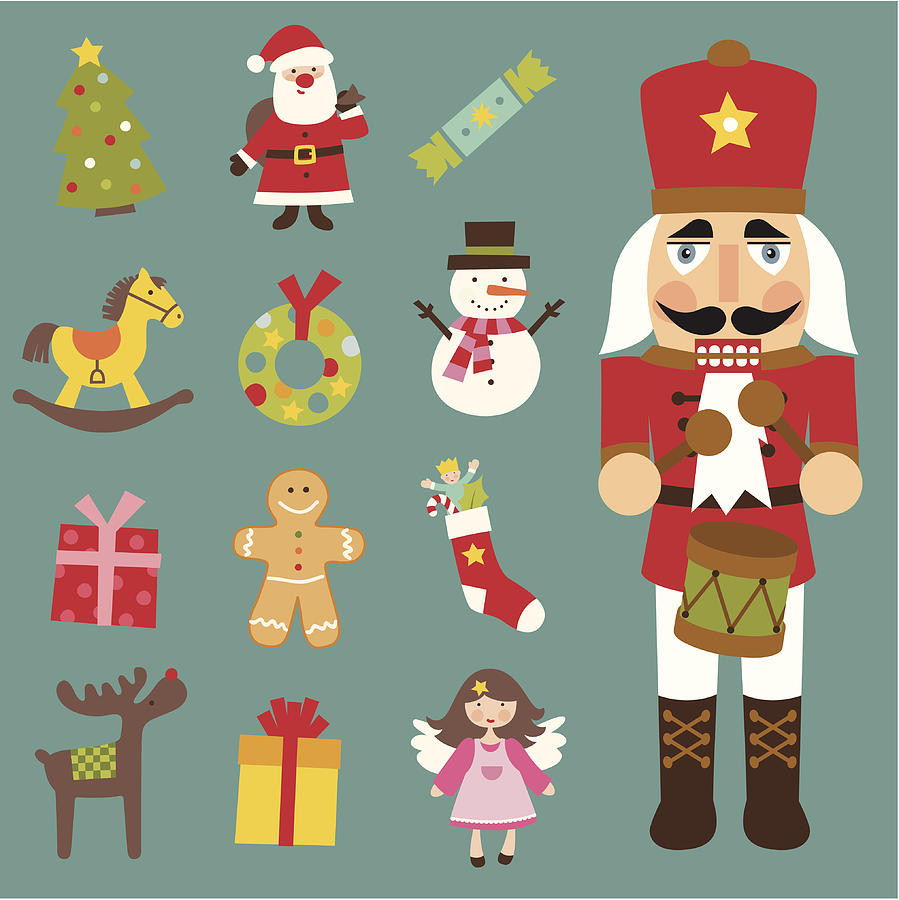 Christmas icon set Drawing by UteHil