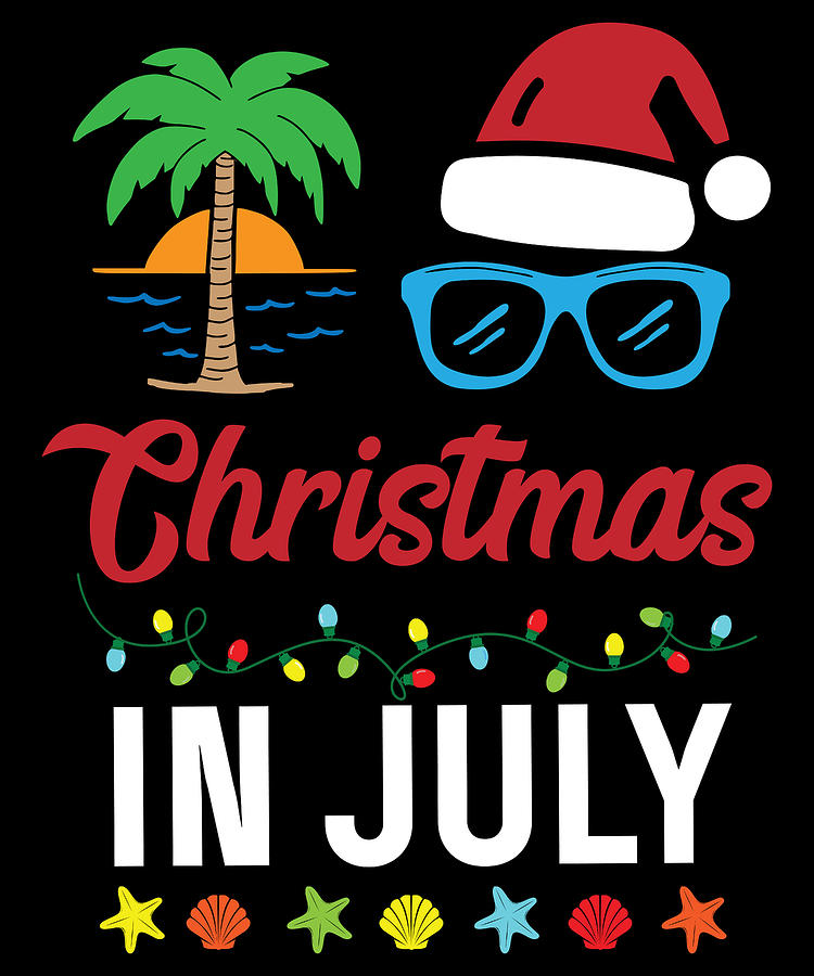 Christmas In July Digital Art - Christmas In July Santa Beach Funny by Michael S