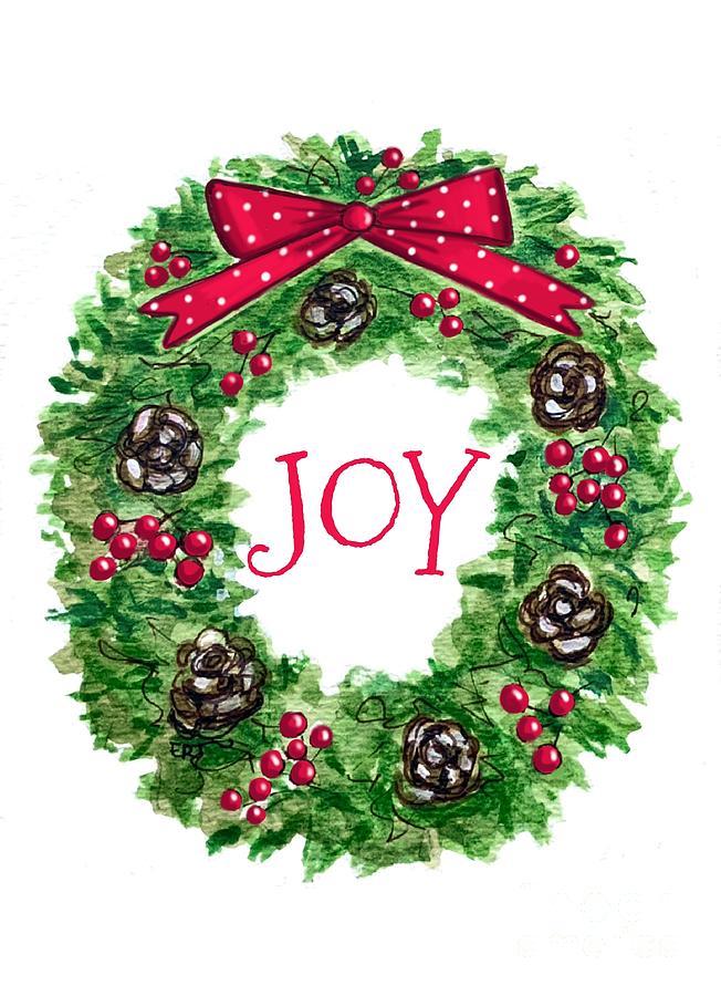 Christmas Joy Wreath Painting By Elizabeth Robinette Tyndall