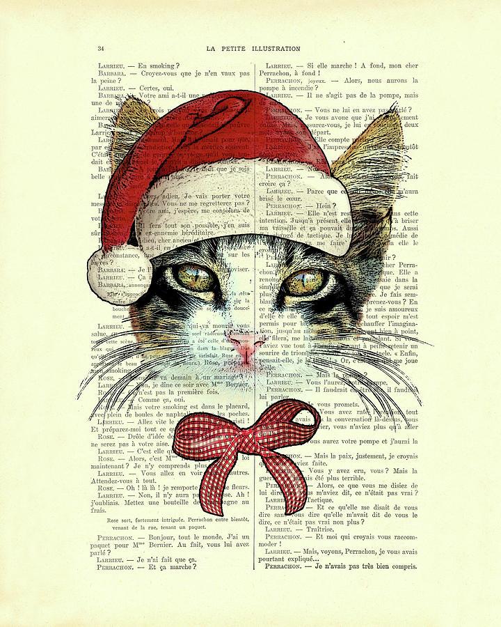 Cat Mixed Media - Christmas kitty, cute xmas cat by Madame Memento