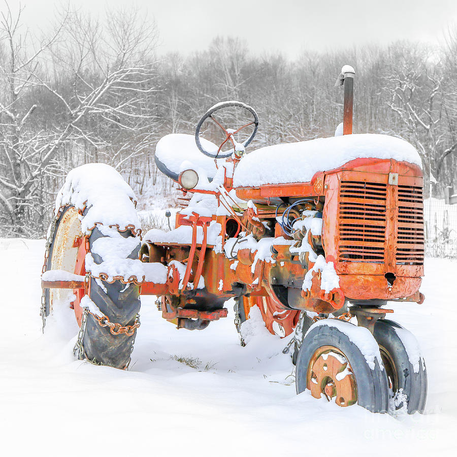 Christmas Red Vintage Tractor in the Snow by Edward Fielding