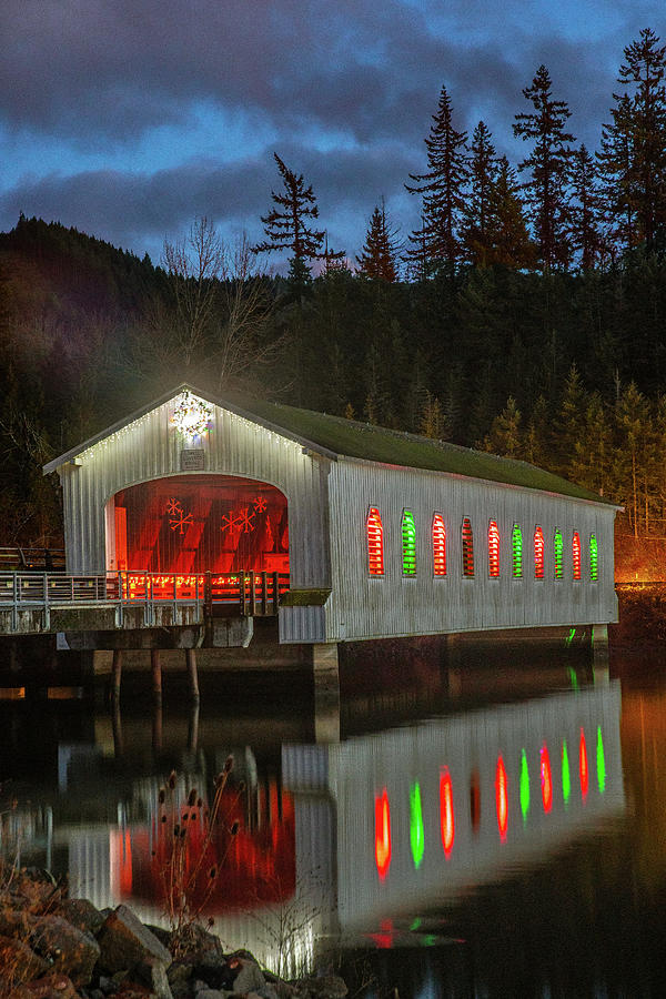 Christmas Reflections at Lowell Covered Bridge by Matthew Irvin