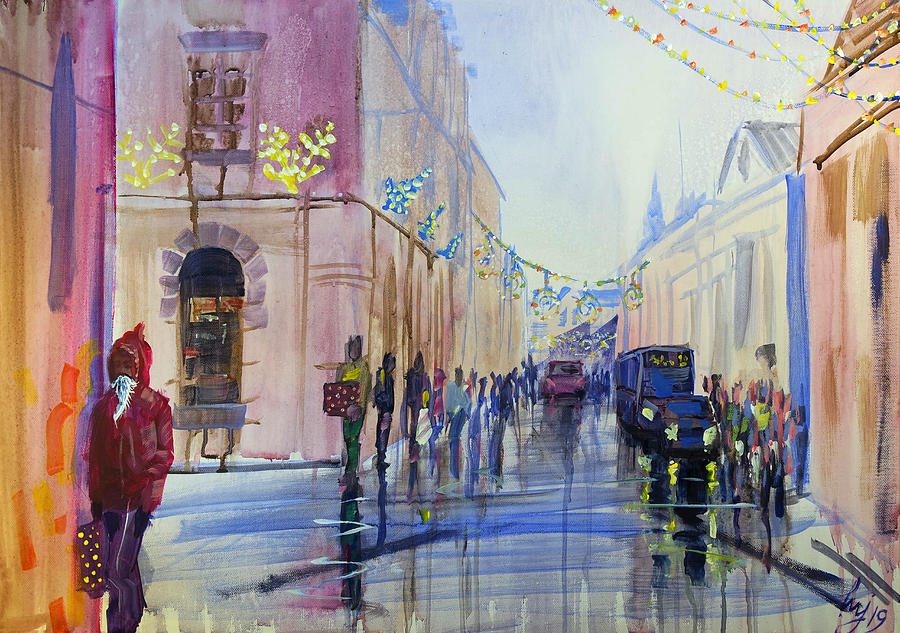Christmas Shopping in Queen Street Exeter by Mike Jory