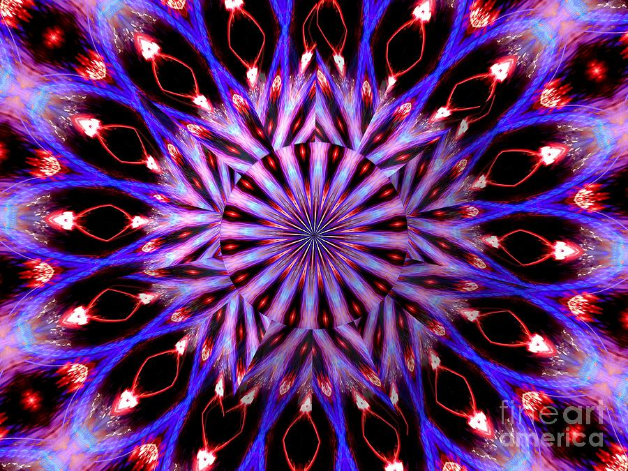 Christmas Tree Lights Kaleidoscope Mandala Under Glass Abstract Mixed Media