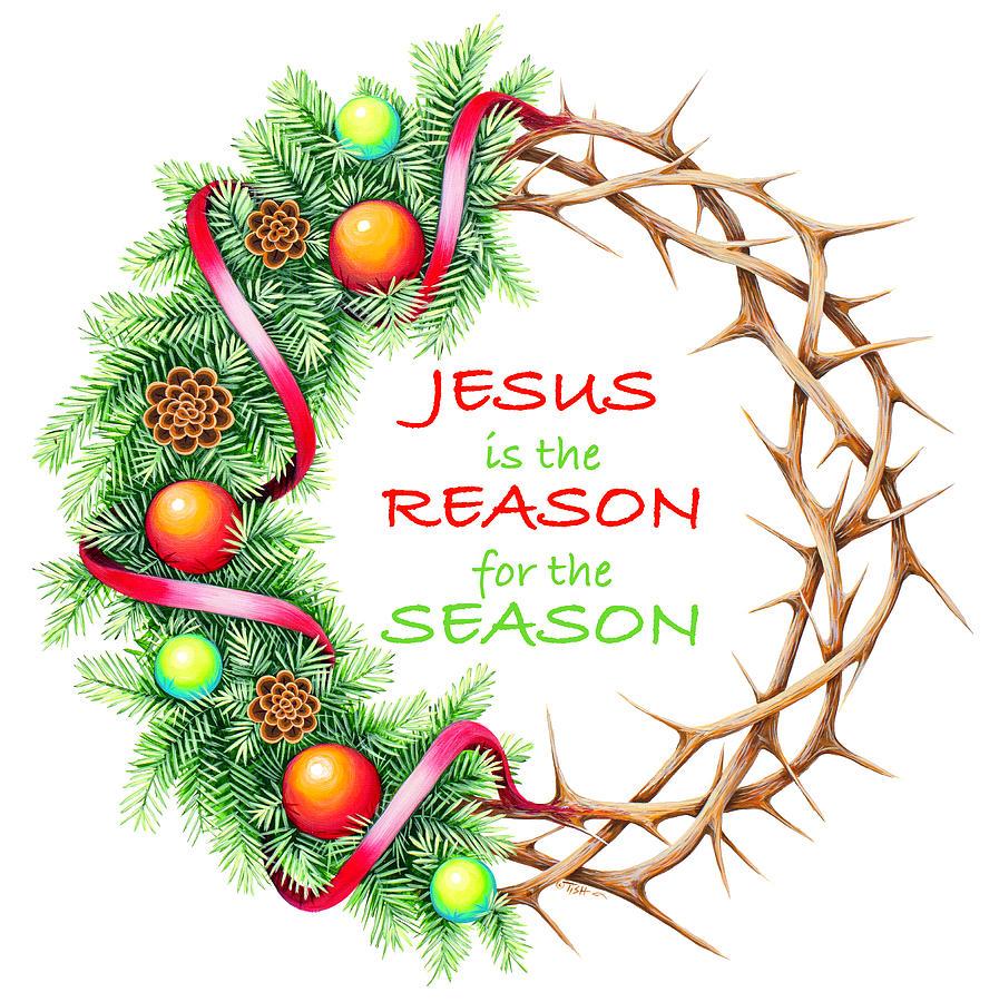 Christmas wreath Jesus by Tish Wynne