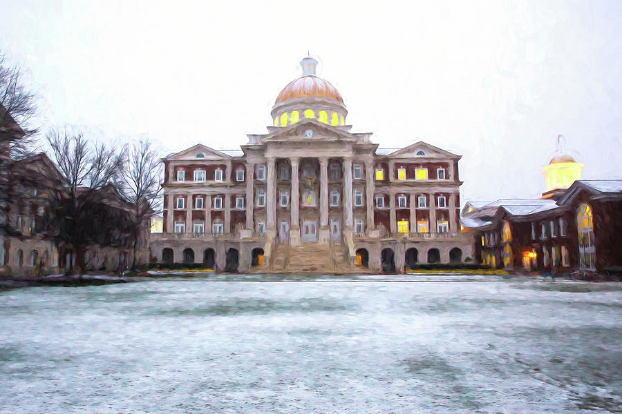 Christopher Newport Hall In Snow Photograph