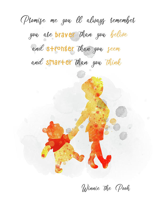 Christopher Robin And Pooh Bear Quote Watercolor Digital Art