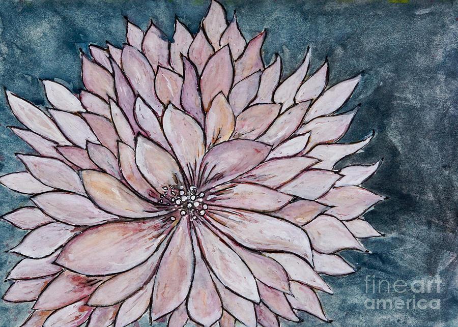 Chrysanthemum On Blue - Painting Painting