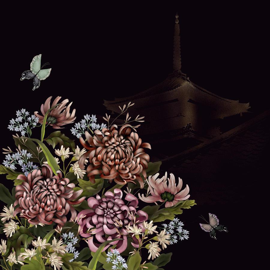 Chrysanthemums And Butterflies Glitter Temple Chinoiserie Digital Art