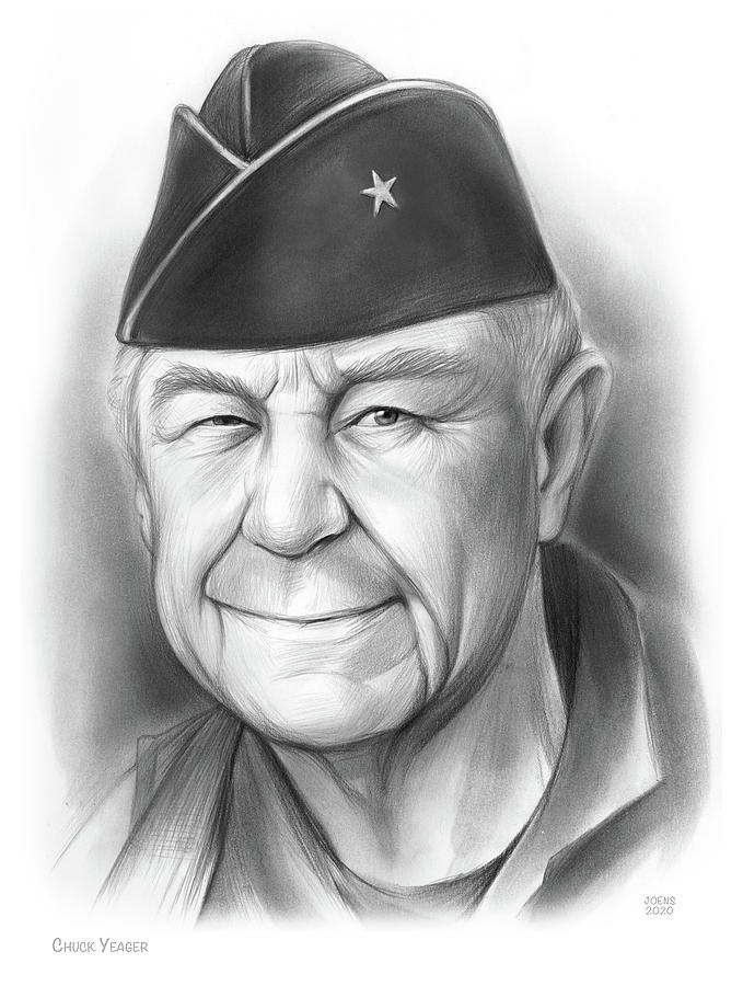 Chuck Yeager - Pencil Drawing
