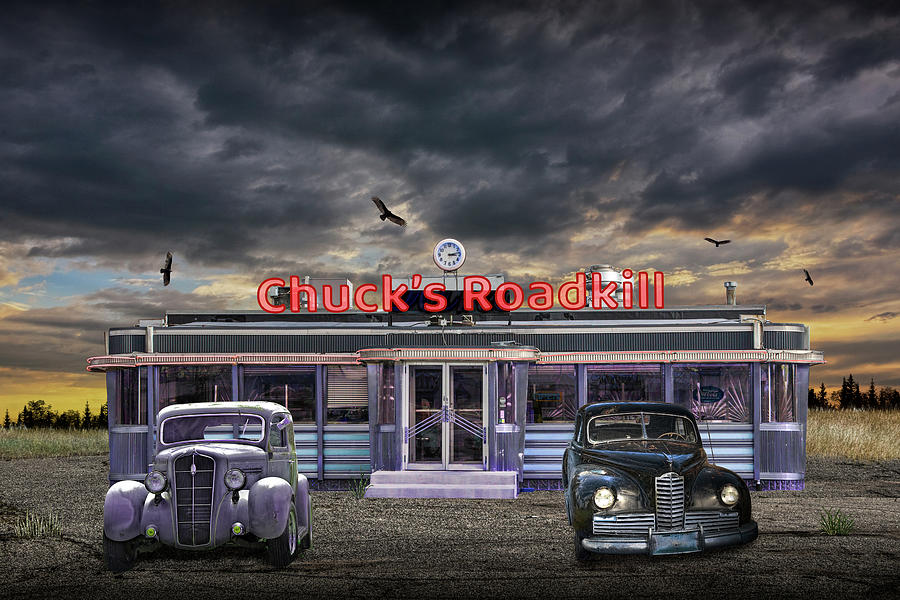 Chucks Roadkill Diner With 1950s Automobiles With Circling Vul Photograph