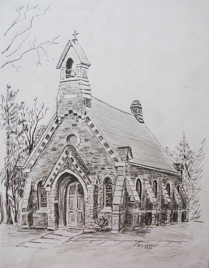 Church Painting - Church near Burlington by Mary Ellen Mueller Legault