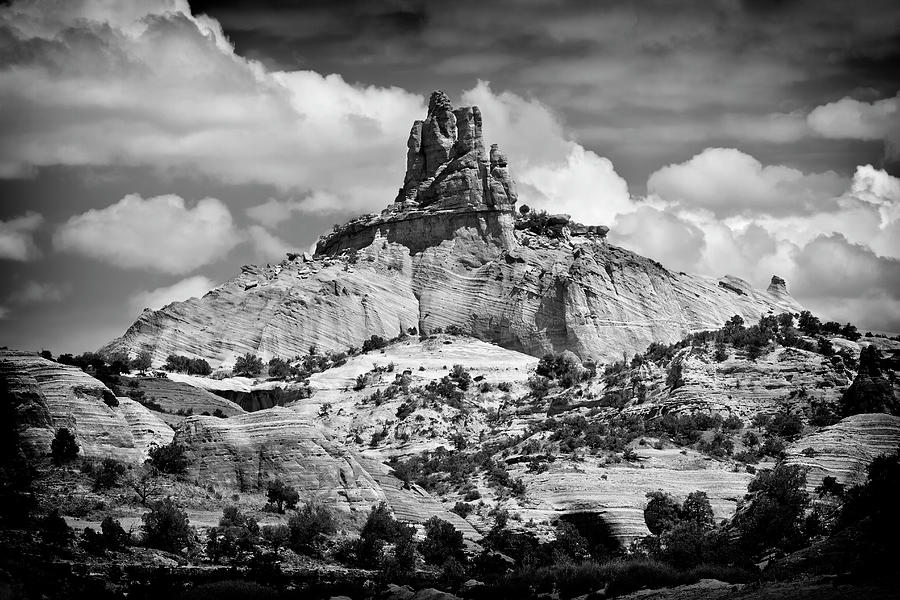 Church Rock Black And White Photograph